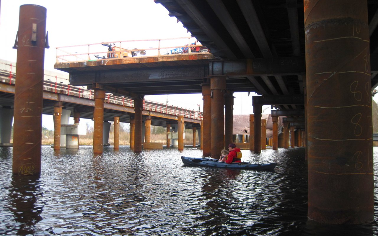 05 Paddling under 520 bridge construction.JPG