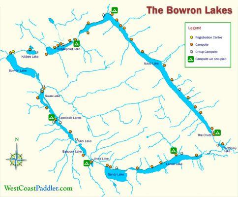 Bowron Lakes Map West Coast Paddler Photo Gallery   Bowron Lakes/Bowron Lakes map